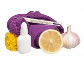 stock photo of nose drops  - Medical glass mercury thermometer with warm knitted scarf and drops for a nose - JPG
