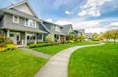 stock photo of driveway  - A perfect neighborhood - JPG
