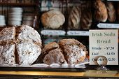 Display of Irish Soda bread at bakery