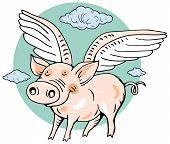 Happy Angel Pig Vector Illustration