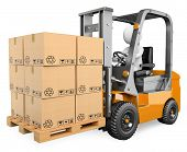 stock photo of forklift driver  - 3d white person driving a forklift with boxes in a pallet - JPG