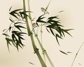 stock photo of bamboo  - oriental style painting - JPG