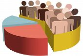 stock photo of population  - A chart with a diverse group of people as statistics symbols of majority population team market customers census audience voters - JPG