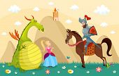 picture of beast-man  - vector illustration of a dragon and knight - JPG
