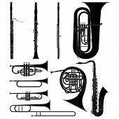 stock photo of flute  - Layered vector illustration of collected Wind Instruments - JPG