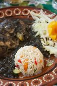 stock photo of poblano  - A typical mexican dish of chicken with mold - JPG