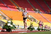 MOSCOW - JUN 11: One athlete in the lead on International athletic competition Moscow Challenge on J