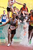 MOSCOW - JUN 11: Runner Getahun overcomes obstacles on International athletic competition Moscow Cha