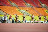 MOSCOW - JUN 11: Female race at Grand Sports Arena of Luzhniki Olympic Complex during International