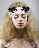 Relax. Styled Enigmatic Blonde With Painted Skin. Dreams With Closed Eyes. Beauty