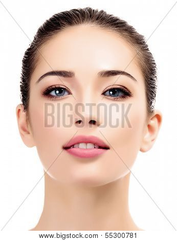 Beautiful young female with clean fresh skin, white background