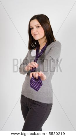 Positive Business Woman With Tie