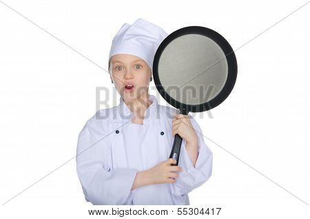 Surprised Young Chef With A Pan