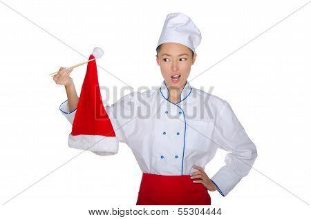 Chef Holding Chopsticks Christmas Cap