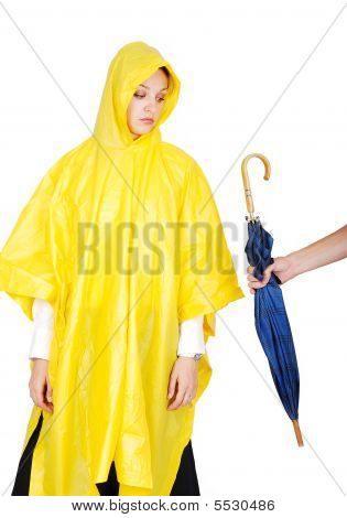 Nice Model In Yellow Hood Has Been Offered An Umbrella