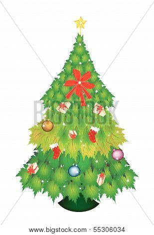 Christmas Tree Of Green Maple Leaves With Christmas Ornament