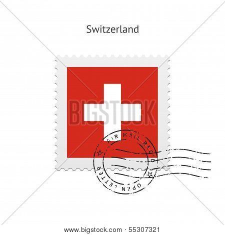 Switzerland Flag Postage Stamp.