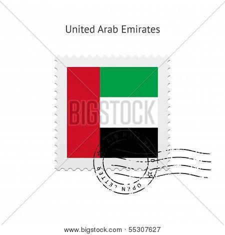 United Arab Emirates Flag Postage Stamp.