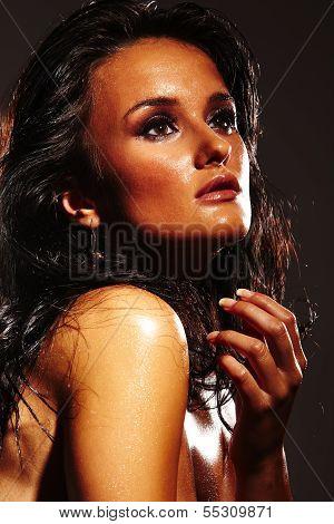 Hot Girl On Dark Background