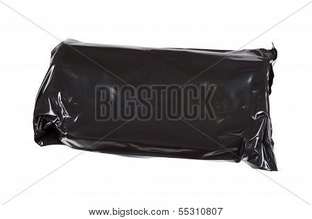 Black Cellophane Pack Isolated On White Background