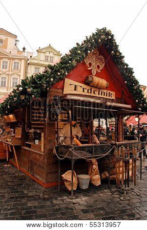 Trdelnik - Rolled Pastries On Prague Christmas Market