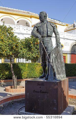 Matador Curro Romero Statue In Seville