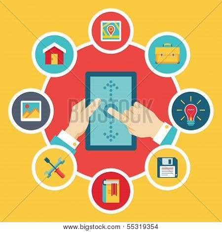 Tablet PC with Hands & Vector Icons - Flat Design Style
