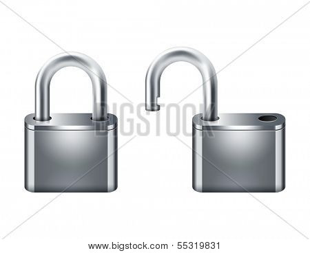 open and closed padlocks 10eps