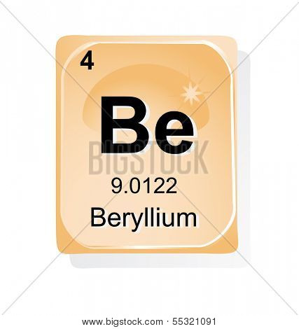 Beryllium chemical element with atomic number, symbol and weight