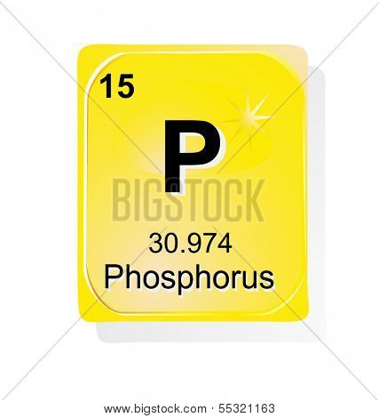 Phosphorus chemical element with atomic number, symbol and weight