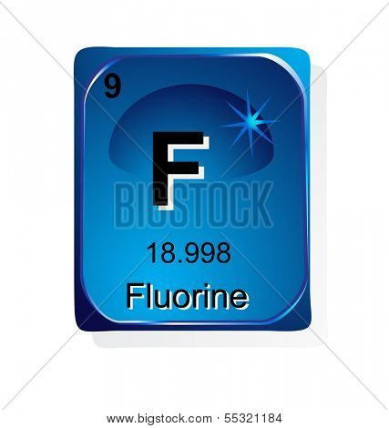 Fluorine chemical element with atomic number, symbol and weight