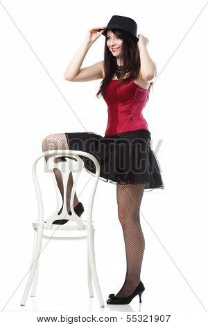 Showgirl Woman Dances In Red Corset