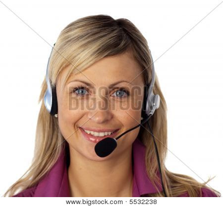 Young Business Woman Talking On A Headset