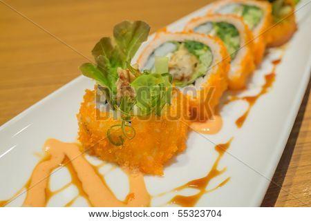 California Maki Rolls On White Plate