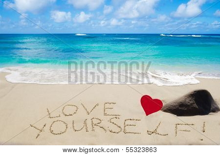 "Sign ""love Yourself"" On The Sandy Beach"