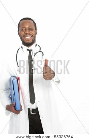 Happy African Doctor Giving A Thumbs Up