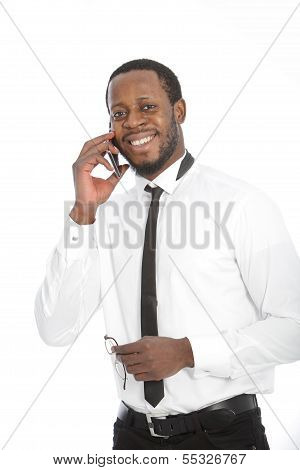 African Businessman Chatting On His Mobile