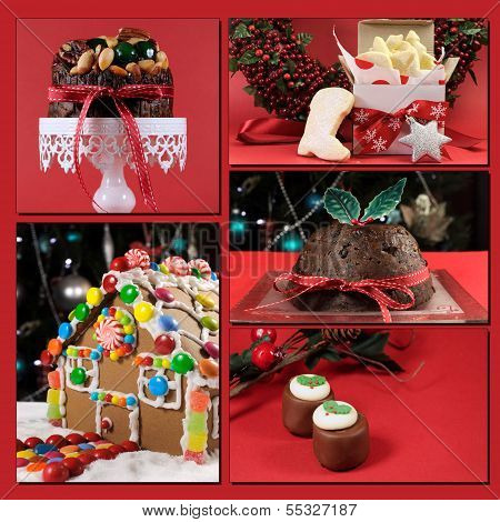 Red Theme Christmas Food Collage Including, Plum Pudding, Christmas Fruit Cake, Gingerbread House, C