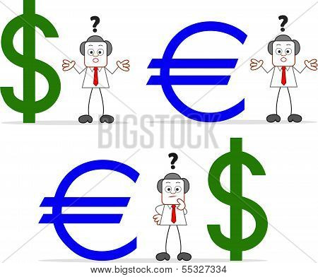 Businessman With Dollar Euro