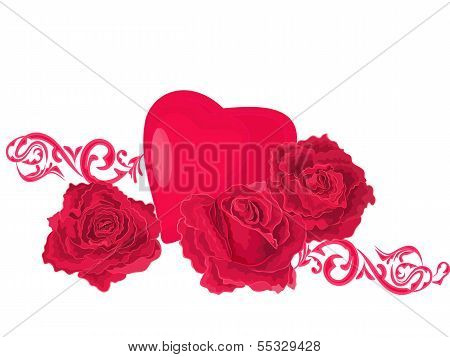 Background Of Roses And Hearts Ornaments.eps
