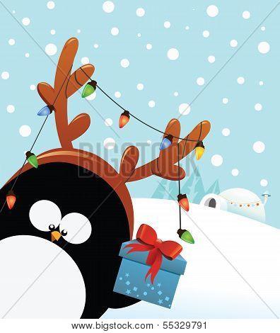 Penguin with Reindeer Costume