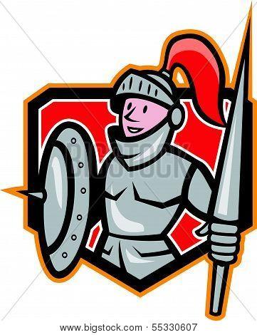 Knight Shield Lance Crest Cartoon