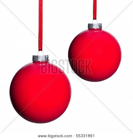 Two Red Christmas Tree Balls