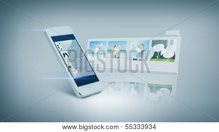 technology and entertainment concept - white smarthphone with videon on screen