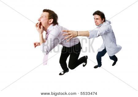 Patient Running Away From A Doctor