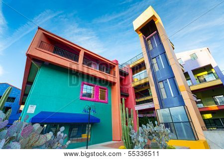 SIETTLE - DECEMBER 01: Colorful buildings of La Placita Village Shopping Center in downtown Tucson, AZ, USA