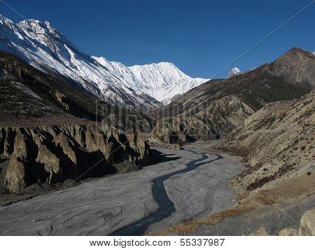 Beautiful landscape near Manang, Nepal