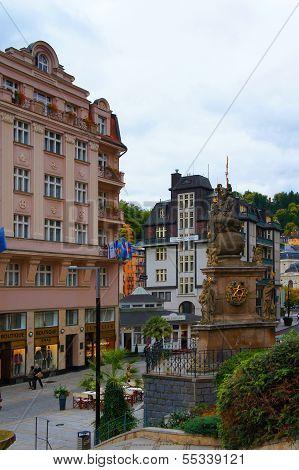 Trziste street of Karlovy Vary, Czech republic