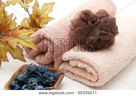 Different Fleece Towel with Netsponge on white background