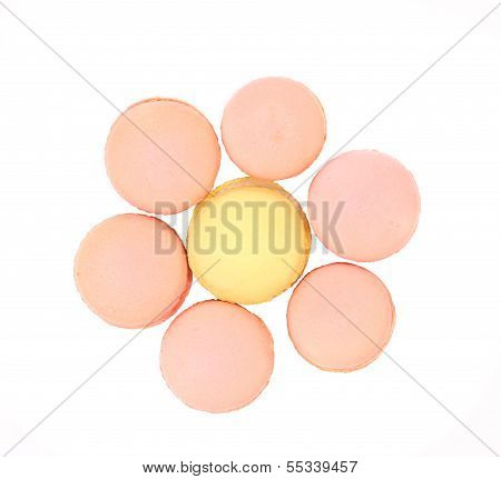 Seven various  macaron cakes. Hexahedron.